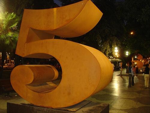 Large number five sculpture