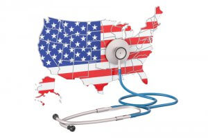 USA map flag stethoscope_Image used under licence from Shutterstock
