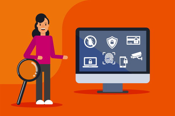 what are the most common cyber claims. Woman with magnifying glass next to screen showing cyber badges