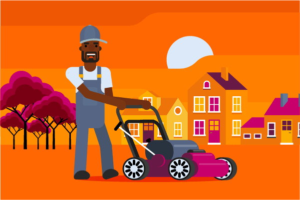 lawn mowing business insurance illustration of man with lawnmower with trees and houses behind