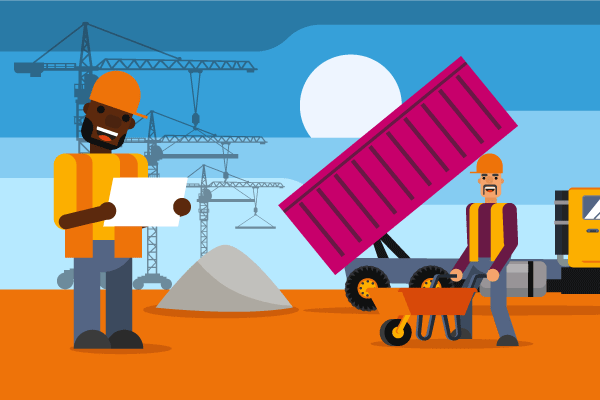 Workers' compensation for contractors and subcontractors illustration of men on construction site