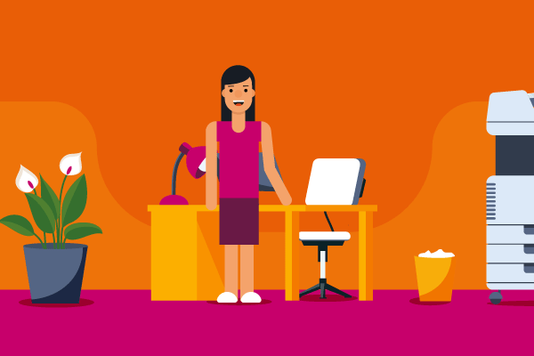 Illustration of woman standing in front of desk in an office for workers' comp insurance self-employed