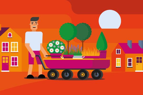 Landscaping industry statistics man with wheelbarrow full of plants