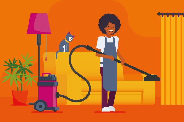Graphic of women in apron holding a vacuum cleaner for house cleaning insurance article.