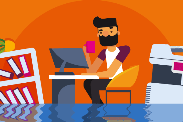 bearded man at desk holding pink mug as office is flooding with water