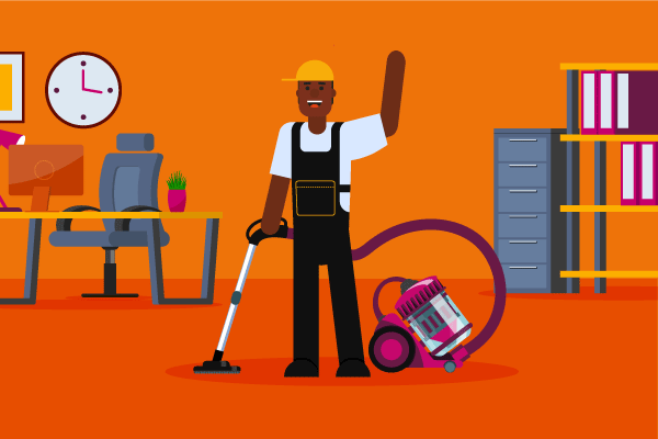 Man in overalls with vacuum in office illustration for janitorial business insurance requirements