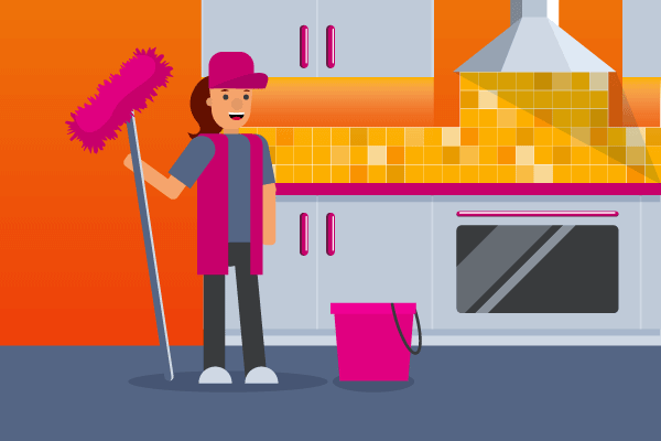 Illustration of woman holding a pink mop with pink bucket in a kitchen for janitors' workers' compensation insurance.