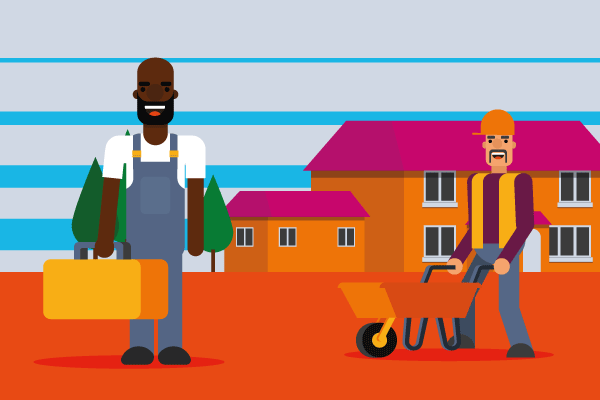 Man in overalls in front of house with second man and wheelbarrow to illustrate property preservation insurance requirements